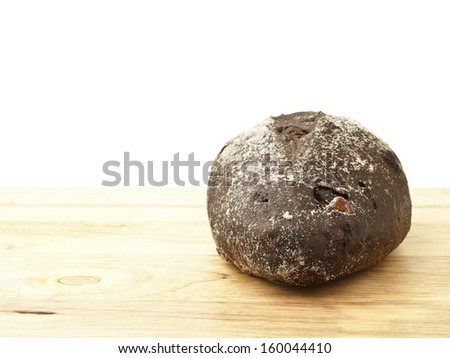 banana loves choco soft bread on wood floor in white background - stock photo