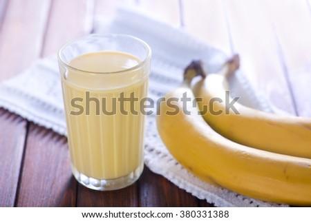 banana milk - stock photo