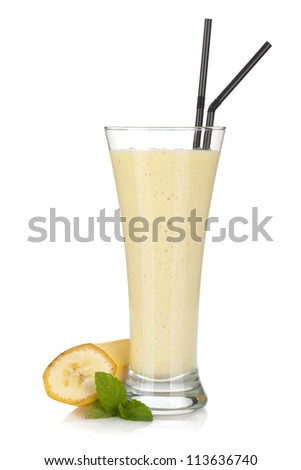 Banana milk smoothie with mint and drinking straws. Isolated on white background