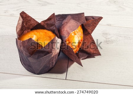 banana muffin cake on wooden background