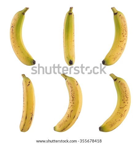 Banana on different angles collage isolated on white background