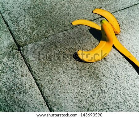 Banana on Side Walk - stock photo