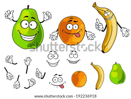 Banana, pear and orange smiling fruits in cartoon style isolated on white. Vector version also available in gallery - stock photo