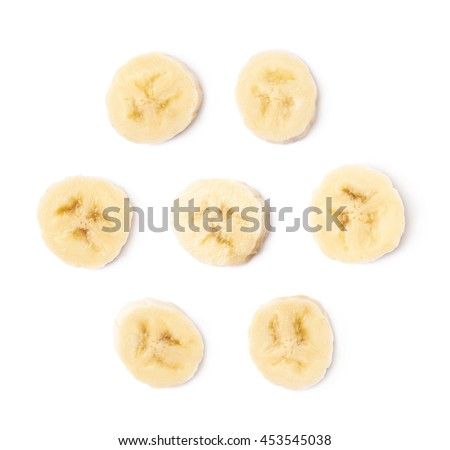 Banana slice isolated over the white background, set of seven different foreshortenings