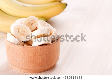 banana slices in a plate - stock photo