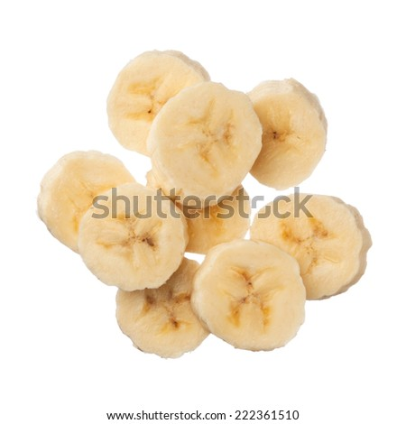 Banana slices isolated on white background, close up - stock photo