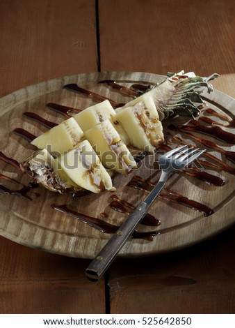 banana with chocolate sauce