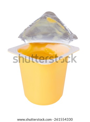 Banana yogurt in open plastic cup isolated on white background
