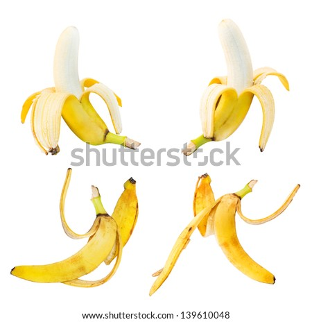 Bananas and peel leftovers set of four isolated over white background - stock photo