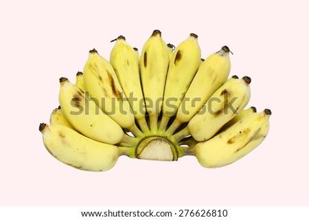 Bananas fruit on isolated background. Yellow fresh fruit on isolated. Sweet fruit on white background. Fresh fruits on isolated. Diet fruit. Healthy fruit on isolated. Old  skin bananas fruit. - stock photo