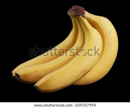 Bananas isolated on black - stock photo