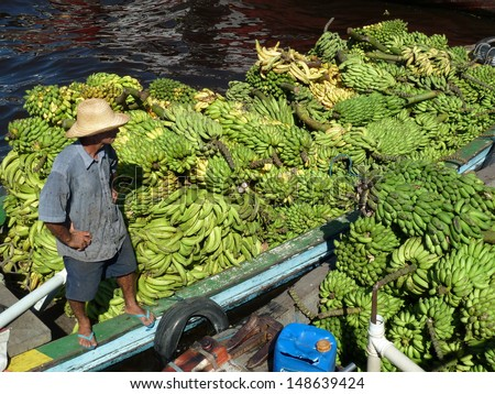 Bananas (Musa) delivery by boat to the banana market in Manaus, Amazon - Brazil - stock photo