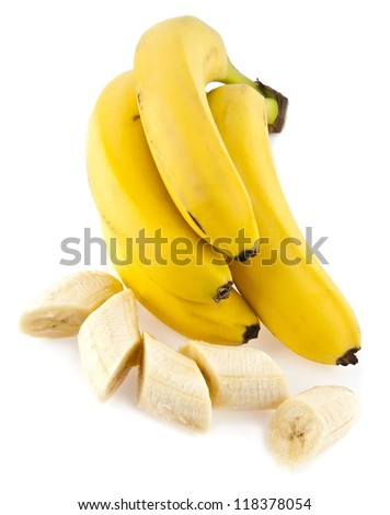 bananas on a white background