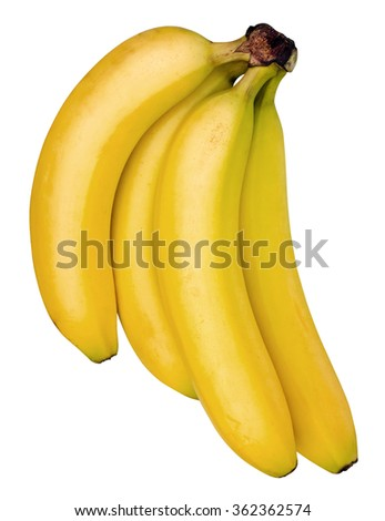 Bananas top view isolated on white with clipping path - stock photo
