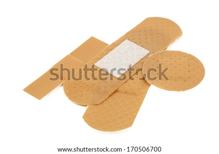 band aid, closeup shot, isolated on white background - stock photo
