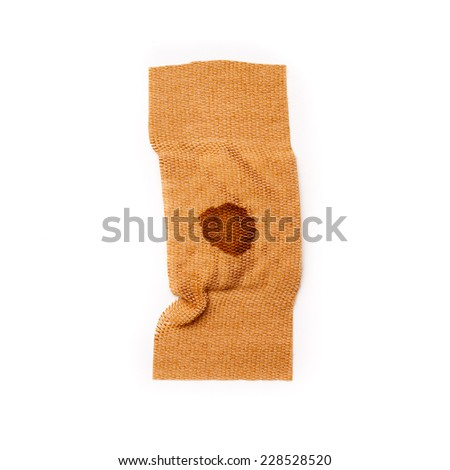 Band aid tear off with dried blood isolated on a white background. Wound, cure, care, help, relief. - stock photo