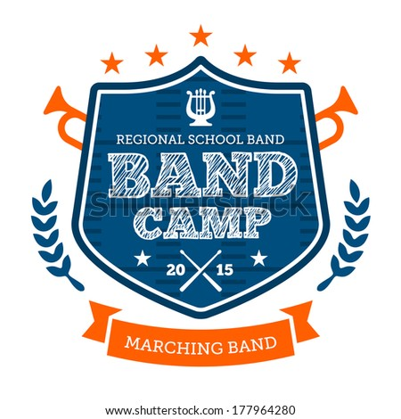 Band camp marching drum corp emblem badge - stock photo