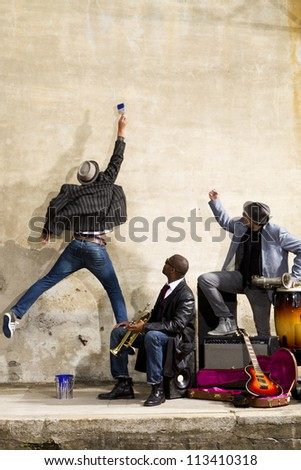 Band of blues musicians - stock photo