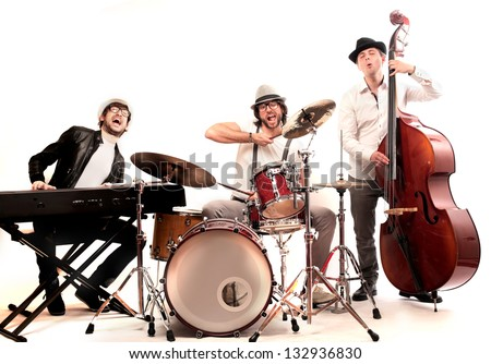 band of musicians with instruments - stock photo