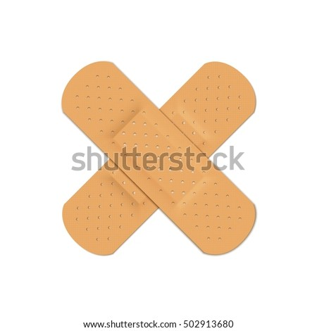 Bandage Plaster Aid Band Medical Adhesive Set 3D Illustration Isolated on White Background