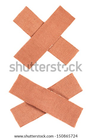 Bandaids isolated over a white background - stock photo
