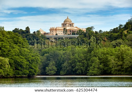 Bandar Seri Begawan,Brunei Darussalam/MARCH 31,2017: The new palace of sultan of Brunei. View from river