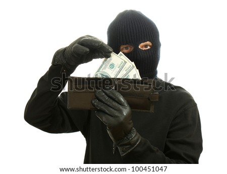Bandit in black mask with stolen wallet isolated on white