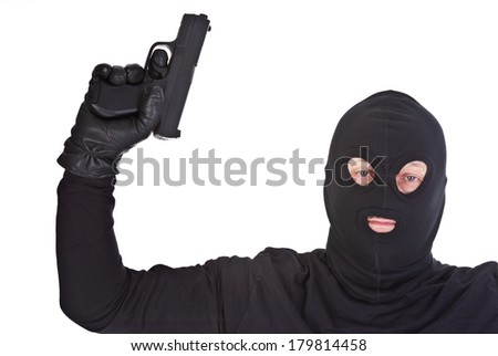 bandit with gun over pure white background - stock photo