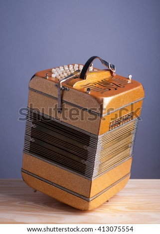 Bandoneon accordion, traditional musical instrument. - stock photo