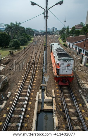 BANDUNG, INDONESIA - JANUARY 15 2016: Train is one of the main transportation in Bandung, Indonesia.