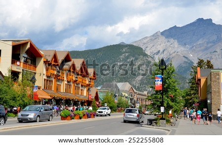 BANFF, AB- AUGUST 03: Banff town and Lifestyle on August 03, 2014 in Banff, AB . Banff is one of the most visited towns in the West Canada - stock photo