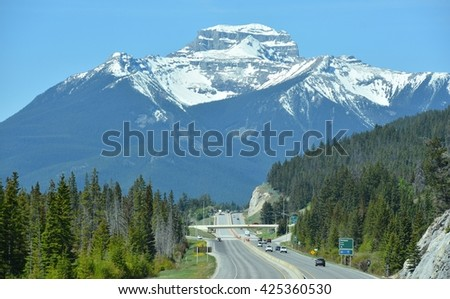 BANFF, AB- MAY 16: Banff town and Lifestyle on May 16, 2016 in Banff, AB . Banff is one of the most visited towns in the West Canada - stock photo