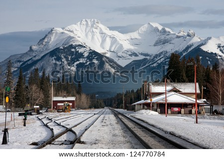 Banff Train Station, Banff National Park, Alberta, Canada - stock photo