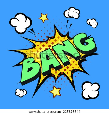 bang comic explosion  isolated on blue background - stock photo