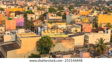 Bangalore City skyline in resident zone when sunset, India - stock photo
