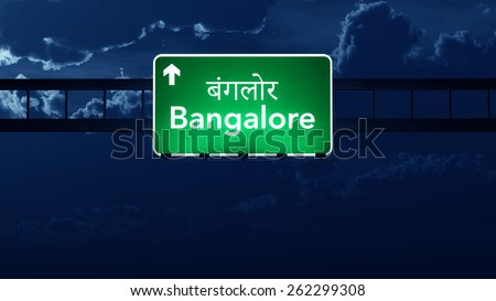 Bangalore India Highway Road Sign at Night - stock photo