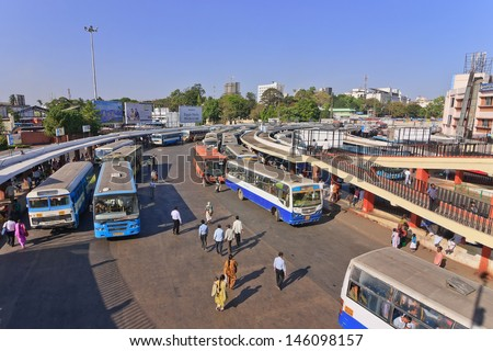 BANGALORE INDIA MARCH 13:Busy hour at Bangalore main bus station on March 13, 2011,Bangalore, India.Kempegowda Bus Station known as Majestic, provides connectivity to almost all the areas of Bangalore