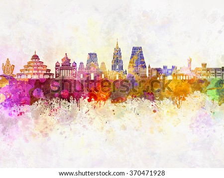 Bangalore skyline in watercolor background - stock photo