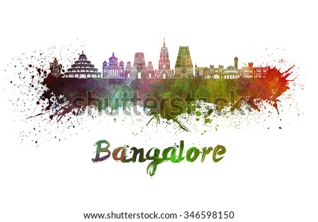 Bangalore skyline in watercolor splatters with clipping path - stock photo