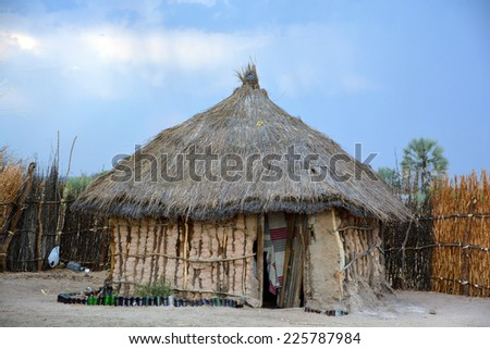 BANGANI NAMIBIE OCTOBER 10: Straw hut in town of Bangani on october 10 2014. In Namibia About 27.6 per cent of households are classified as poor