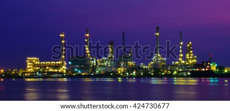Bangchak refinery, The only refinery in Bangkok on sunrise light.(Panorama)