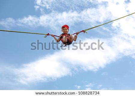 Bangee jumper smal boy. - stock photo