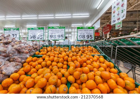 BANGKOaK - July 13, 2014 Shelf with fruits in makro supermarket,Makro is an originally Dutch chain of Warehouse clubs, also called cash and carries.