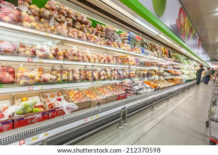 BANGKOaK - July 13, 2014 Shelf with fruits in makro supermarket,Makro is an originally Dutch chain of Warehouse clubs, also called cash and carries. - stock photo