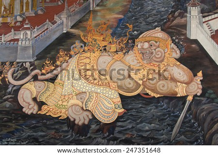 BANGKOK - APR 27: A scene from the Ramakien in Wat Phra Kaew, Bangkok, Thailand on Apr 27, 2014. The Ramakien is Thailand's national epic, derived from the Hindu epic Ramayana. - stock photo