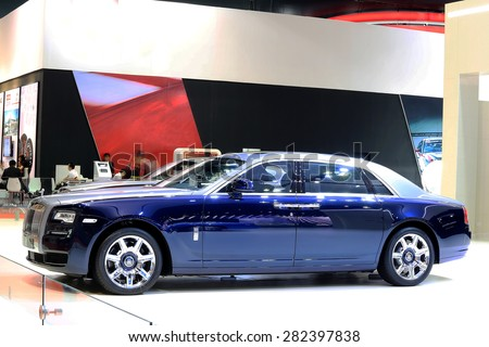 Bangkok - April 2 : blue Rolls Royce luxury car in display at The 36th Bangkok international Motor Show 2015 on April 2, 2015 in Bangkok Thailand - stock photo