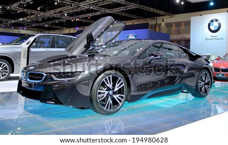 Bangkok - April 2 : BMW series I8 innovation car - in display at 35th Bangkok International  Motor Show 2014 on April 2,2014 in Bangkok Thailand