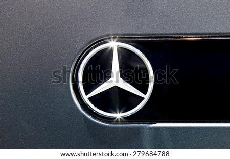 Bangkok - April 2 :close up logo of Mercedes Benz on black car- in display at The 36th Bangkok international Motor Show 2015 on April 2, 2015 in Bangkok Thailand
