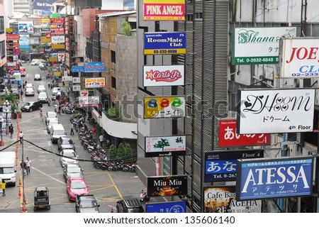 BANGKOK - APRIL 12: Daytime view of Soi Thaniya in Patpong entertainment district, known locally as Little Tokyo, famous for its Japanese oriented nightlife on 12 April, 2013 in Bangkok, Thailand. - stock photo