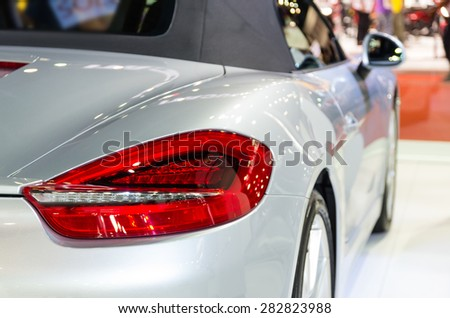 BANGKOK - APRIL 3 : Detail on the rear light of Porsche in The 36 th Bangkok International Motorshow , on April. 3, 2015 in Bangkok, Thailand - stock photo